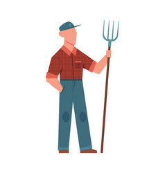 Man and pitchfork agricultural worker vector