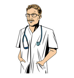 mature male doctor stethscope with arms folded vector image