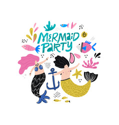 mermaid party hand drawn lettering vector image