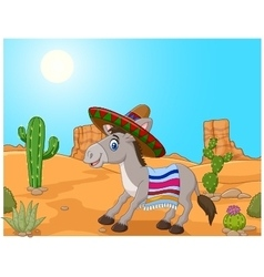 Mexican donkey wearing a sombrero vector image