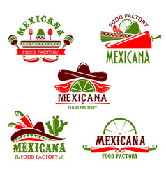 mexican food cuisine restaurant icons set vector image