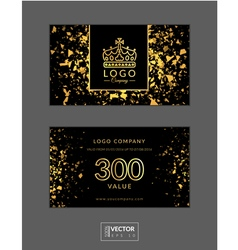 Modern glamour gift voucher with golden crown vector image