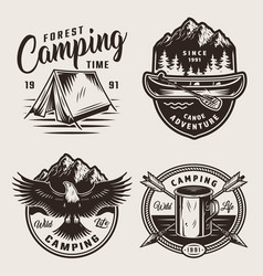 Monochrome summer camping labels vector