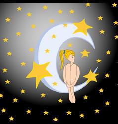 Moon and dreaming baconcept idea good night vector