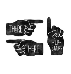 Navigation signs Black hand silhouettes with vector