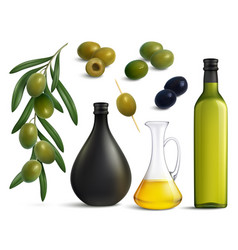 Olives and oil realistic set vector
