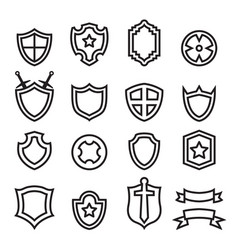 outline shield icon set vector image