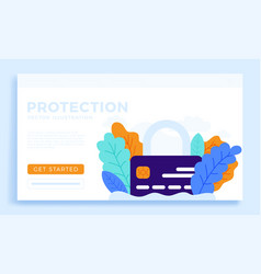 padlock with credit card stock for landing page vector image
