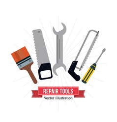 pain brush saw wrench screwdriver tool icon vector image