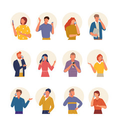 people talking phone large set communication in vector image