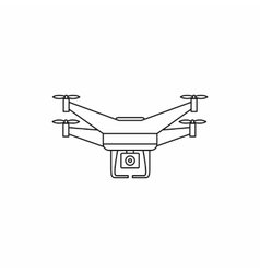 Quadcopter drone with camera icon outline style vector