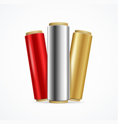 realistic 3d detailed shiny foil roll set color vector image