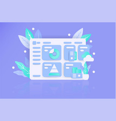 Realistic style dashboard website with flat color vector