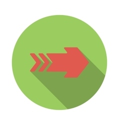 Red right arrow icon flat style vector image