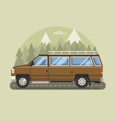Road trip scene with cartoon family pickup vector