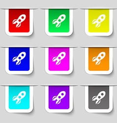 Rocket icon sign Set of multicolored modern labels vector