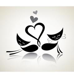 Romantic black cats happy couple vector