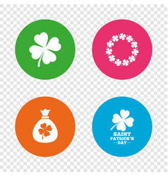 Saint patrick day icons money bag with clover vector