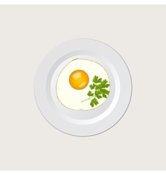 scrambled eggs on white plate vector image