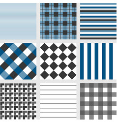 Seamless pattern with square navy blue tartan vector