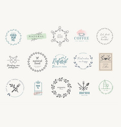 set badges and stickers for food and drink vector image