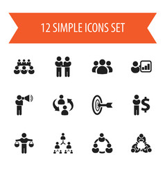 Set of 12 editable community icons includes vector
