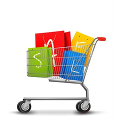 Shopping bags with sale in shopping cart Concept vector image