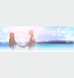 silhouette couple holding hands on beautiful vector image