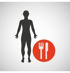 silhouette man fitness nutrition health vector image