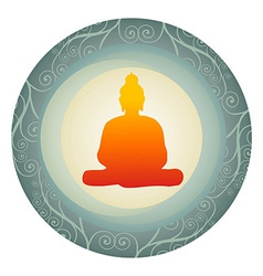 Silhouette of Buddha in a circle vector