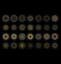Star shape gold fireworks explosion pattern set vector