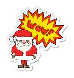 Sticker of a cartoon amazed santa claus vector
