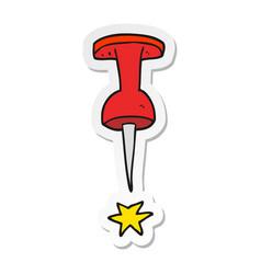 Sticker of a cartoon office tack vector