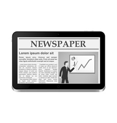 Tablet PC with online newspaper vector image