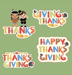 thanksgiving typography design elements vector image