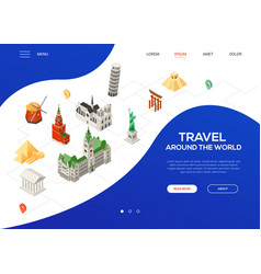 Travel around the world - colorful isometric web vector