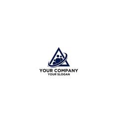 triangle blue staff logo design vector image