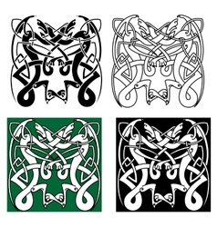 Tribal dragons with celtic knot pattern vector image