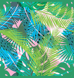 Tropical summer print with palm seamless pattern vector