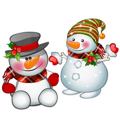 Two smiling snowman wearing a striped cap and vector