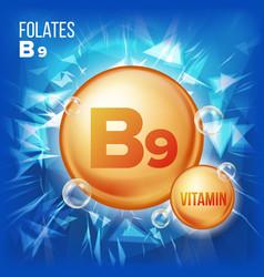 vitamin b9 folates vitamin gold oil pill vector image