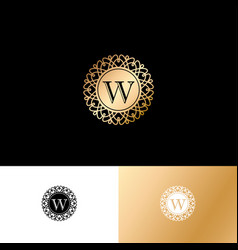 w gold letter monogram gold circle lace ornament vector image