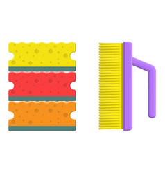 washing sponge and brush vector image