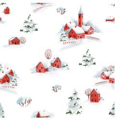 Watercolor seamless pattern winter snowy vector