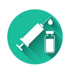 White medical syringe with needle and vial or vector