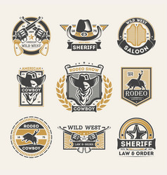 Wild west vintage isolated label set vector