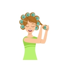 Woman Curling The Hair Home Spa Treatment vector