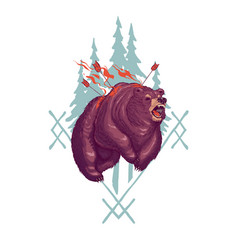 wounded and furious grizzly bear cartoon vector image