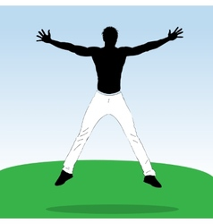 Young jumping athlet vector image