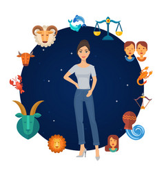 zodiac signs astrological circle with girl in vector image